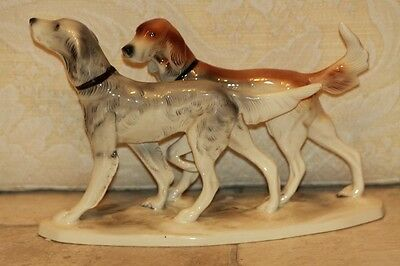 Hertwig & Co Porcelaine Figurine - Two Setter Dogs