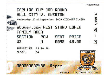 Ticket - Hull City v Everton 23.09.09 League Cup
