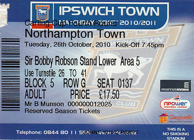 Ticket - Ipswich Town v Northampton Town 26.10.10 League Cup