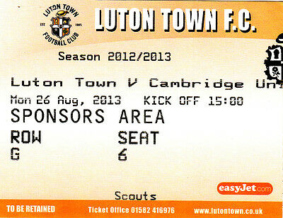 Ticket - Luton Town v Cambridge United 26.08.13