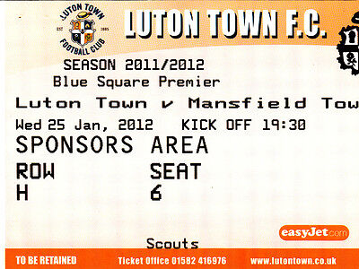 Ticket - Luton Town v Mansfield Town 25.01.12