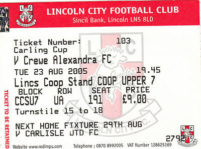 Ticket - Lincoln City v Crewe Alexandra 23.08.05 League Cup