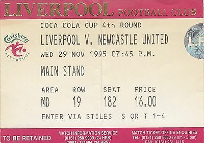 Ticket - Liverpool v Newcastle United 29.1.95 League Cup