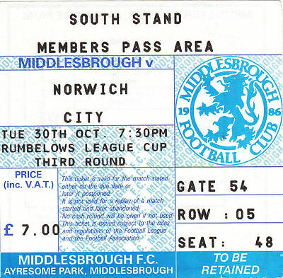 Ticket - Middlesbrough v Norwich City 30.10.90 League Cup