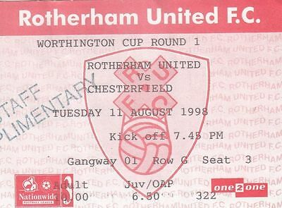 Ticket - Rotherham United v Chesterfield 11.08.98 League Cup