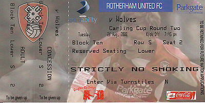 Ticket - Rotherham United v Wolverhampton Wanderers 26.08.08 League Cup