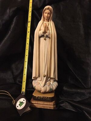 """Our Lady of Fatima Hand Carved Painted Figurine Statue ~14"""""""