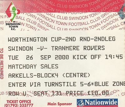 Ticket - Swindon Town v Tranmere Rovers 26.09.00 League Cup