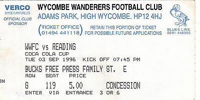 Ticket - Wycombe Wanderers v Reading 03.09.96 League Cup