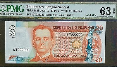 Philippines 20 Peso Banknote With Solid S/N. Graded By PMG (63) Uncirculated
