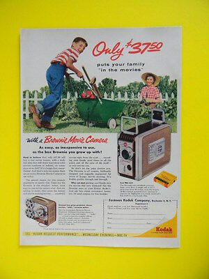 1955 Kodak Puts Your Family In The Movie ~ Brownie Camera Sales Art Ad