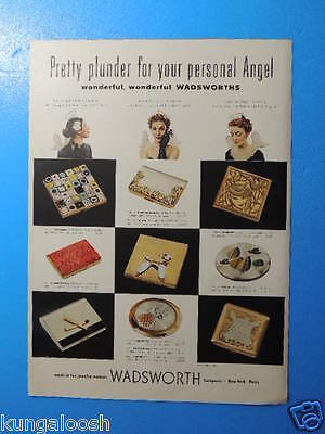 1952 Pretty Plunder For Your Personal Angel-Wadsworth Compacts Photo Art Ad