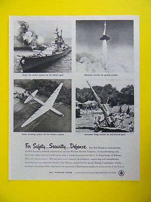 1953 For Safety...security...defense... The Bell Telephone Laboratories Photo Ad