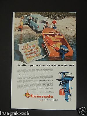1956 Welcome To America's Wonderful Waterways, Evinrude Vintage Photo Art Ad