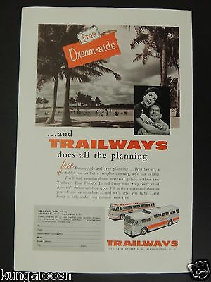 1956 Free Dream-Aids And Trailways Does The Planning Vintage Photo Art Ad