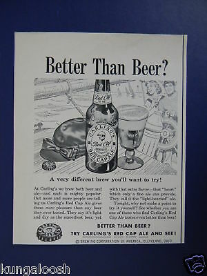 1953 Carling's Red Cap Beer Cleveland Ohio Sales Art Ad