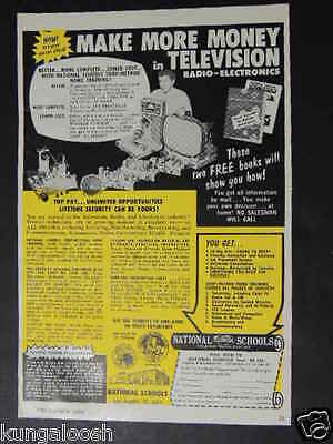 1958 National Schools-Make More Money In Television Vintage Photo Ad
