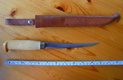 J.marttiini Of Finland Fishing Fillet Knife  6.25 Inch Signed Blade With Sheath
