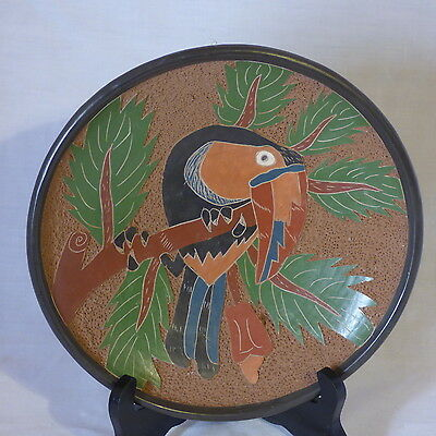 Costa Rican Decorative Ceramic Plate Hand Carved Toucan On Branch Handmade 9""