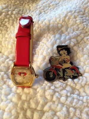 Betty Boop Red Band Watch & Motorcycle Pin