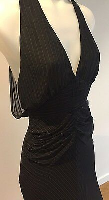 Cue Black Pinstriped Cocktail Dress - Size 10