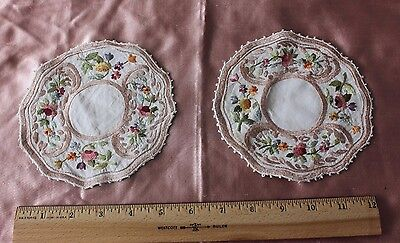 "2 Exquisite Antique Silk Society Work Hand Emb Flowers On Linen 5"" Rounds c1900"