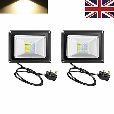 Pair UK Plug 30W LED Floodlight Garden Security Light Warm White Waterproof IP65
