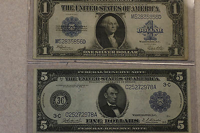 2 Large Notes Currency Lot - 1914 $5.00 FRN and 1923 $1.00 Silver Certificate