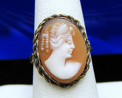 Vintage Antique 800 Silver Carved Shell Cameo Ring Size 6 Lovely