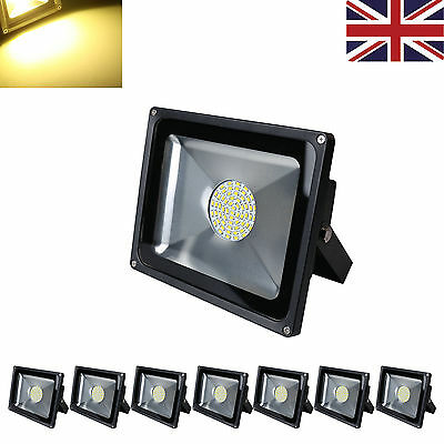 8PCS IP65 50W LED Floodlight High Power SMD Outdoor Security Light Warm White UK