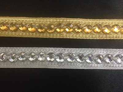 15mm Silver / Gold Beaded Ribbon Lace Trim Edging Craft Trimming 1 Yard
