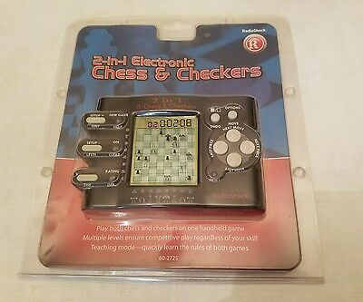 NEW Radio Shack 2 in 1 Electronic Chess & Checkers Handheld Travel Video Game