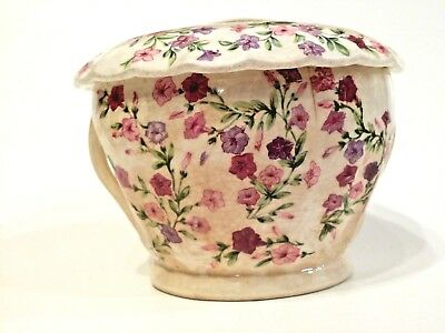 W S George Bolero 163A Fiesta Pattern Rare Shape Sugar Bowl With Lid Vintage