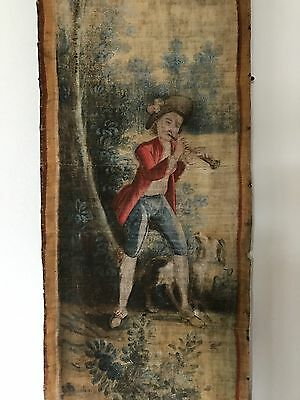 Very Large Antique French Fete Galante Oil Canvas Wall Hanging Tapestry c. 1750