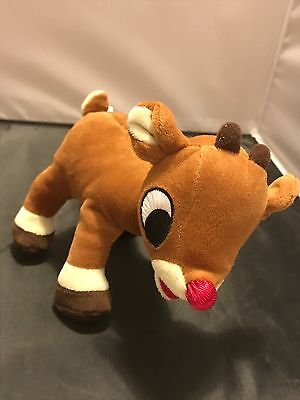 """Rudolph The Red Nosed Reindeer Flaw Musical Plush 7"""" 2008 Commonwealth"""