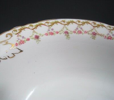 Antique Semi Vitreous Edwin Knowles Oval Serving Bowl Gold Gild Floral Garland