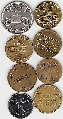 8 Different Auto Parking & Car Wash Tokens