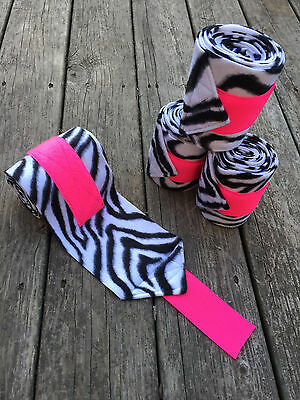 FREE SHIPPING Zebra Print Horse or Pony Polo Wraps with Hot Pink Velcro