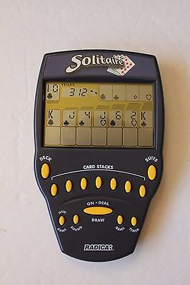 Radica Solitaire Electronic Handheld (1999) Big Screen Navy Blue works great
