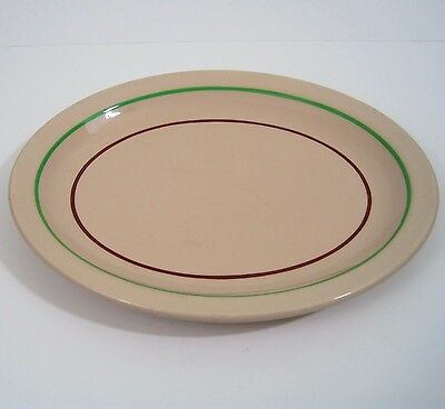 Trenton China Oval Plate Platter Tan Green Red Stripe Restaurant Ware Made USA