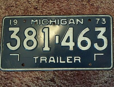 1973 Michigan Trailer Lincense Plate Old