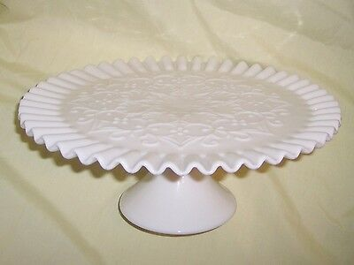 Rare - Fenton - Spanish Lace - Footed, Milk Glass Cake Plate
