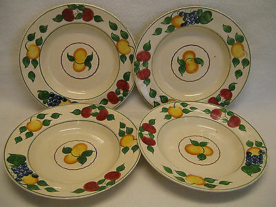 "Adams Royal Ivory Titian Ware Pattern 1346b (4) 8"" Soup Bowls Fruit 1921-"
