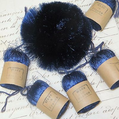 1 Vtg Silky French Blue Millinery Pom Feather Plume Flapper Cloche Hat Antique