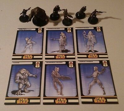Star Wars Miniatures 2005 Revenge of the Sith FRINGE FIGURES with Cards Set of 6