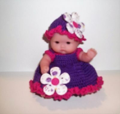 "crocheted  "" little miss spring flower""  5"" Berenguer  outtfit"