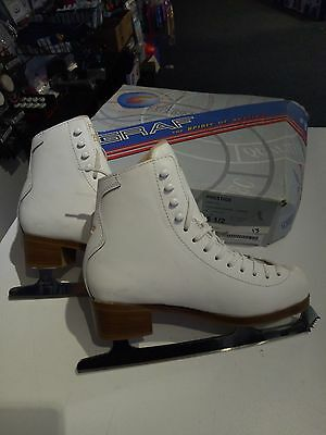 Graf Prestige White Figure Ice Skates Leather Size 7.5 NEW