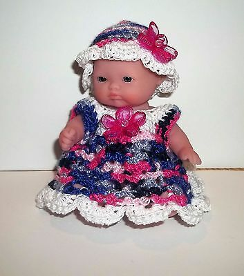"crocheted  "" little miss so pretty ""  5"" Berenguer  outtfit"