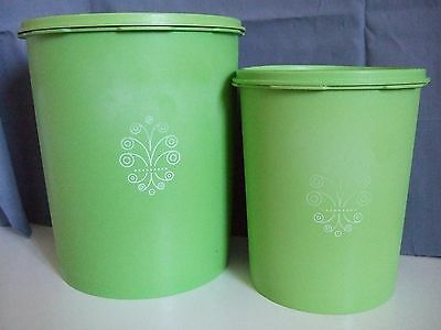 TUPPERWARE Vintage Retro Green 2 cannisters