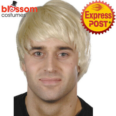 W472 Blonde Adult Mens Guy Costume Wig Short Pop Star Boy Band 90s Rock Singer